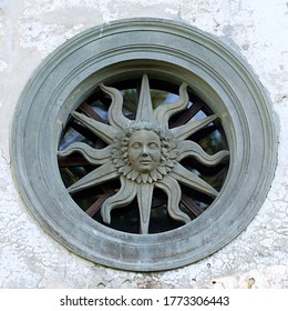 Cavola, Toano, Reggio Emilia/Italy: 07/02/20: The solar-shaped rose window on the facade of the oratory of the Madonna della Neve built by the craftsman carver and sculptor Domenico Francesco Ceccati