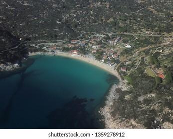 Cavoli beach, Elba island, drone view. Tuscany sea, Italy. March 27 2019