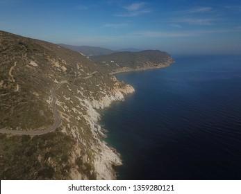 Cavoli coastline, Elba island, drone view. Tuscany sea, Italy. March 27 2019