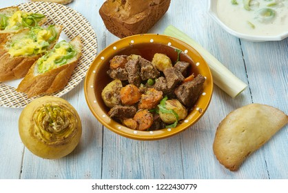 Cawl, Welsh, cuisine, British Traditional assorted dishes, Top view.