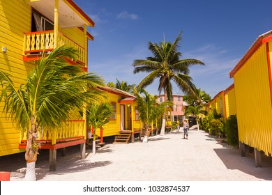CAYE CAULKER, BELIZE - AUGUST 6, 2008: Tropical Paradise Hotel cabins.