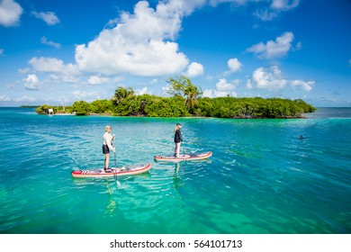 CAYE CAULKER BELIZE - DEC 17 2015: People stand up on paddle Board in turquoise sea of Caye Caulker island , Belize on Dec 17. 2015 ,