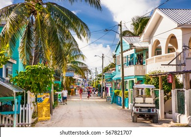 CAYE CAULKER BELIZE - DEC 18 2015: Playa Asuncion street at Caye Caulker island  on Dec 18. 2015 , Belize, Central America.