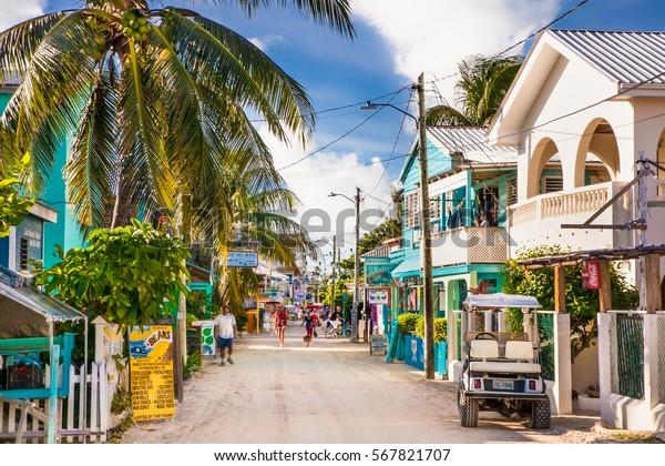 CAYE CAULKER BELIZE - DEC 18 2015: Playa Asuncion street at Caye Caulker island  on Dec 18. 2015 , Belize, Central America.