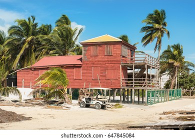 Caye Caulker, Belize - December 20, 2016: View at the colorful wooden house in Caye Caulker. It is a small island near Ambergris Caye, Belize.