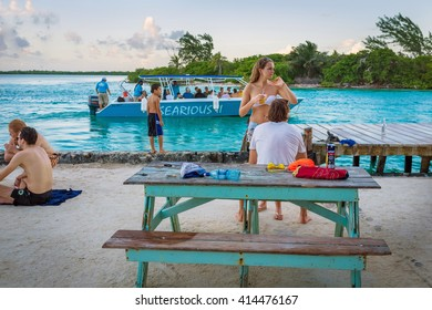 Caye Caulker, Belize - December 30th 2013 - Few tourists enjoying the late afternoon in Caye Caulker, Belize