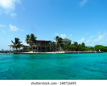 CAYE CAULKER, BELIZE - JUNE 10:The Split Bar at Caye Caulker on June 10, 2013.  Caye Caulker is a small island off the coast of Belize in the Caribbean Sea  It is a popular destination for tourists