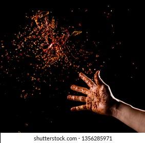 Cayenne pepper powder explosion,Flying Cayenne pepper,Motion blur