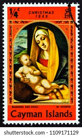 """CAYMAN ISLANDS - CIRCA 1969: A stamp printed in Cayman Islands from the """"Christmas"""" issue shows Madonna and Child by Vivarini, circa 1969."""