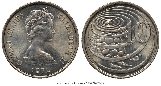 Cayman Islands coin 10 ten cents 1972, bust of Queen Elizabeth II right, tortoise in water left to denomination,