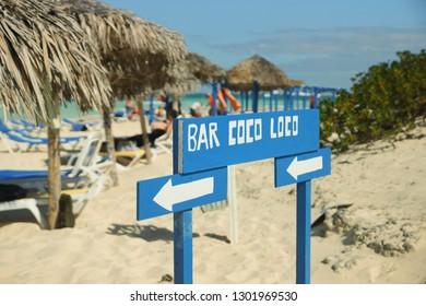 Cayo Coco, Cuba. 01/26/2014 Tropical beach Cayo Coco. Cuban beaches. Signpost on the beach. Tropical holiday. Editorial.