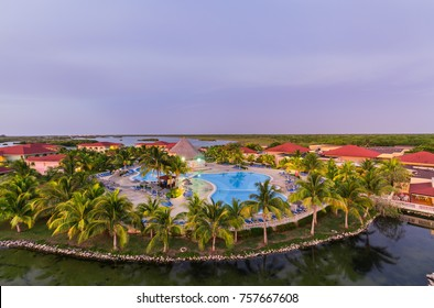 Cayo Coco island, Cuba, June 30, 2016, beautiful inviting amazing view of natural landscape view of Memories Caribe resort hotel grounds at sunset time