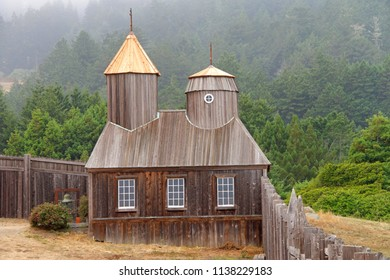 Cazadero, CA - July 15, 2018: Fort Ross, a historic Russian era fort compound that has been designated National Historic Landmark status, located 11 miles north of Jenner on California Highway 1 (PCH)