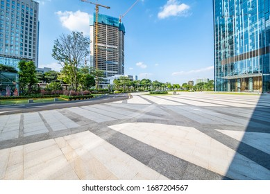 CBD building and plaza empty ground in Nanhai District, Foshan City, China