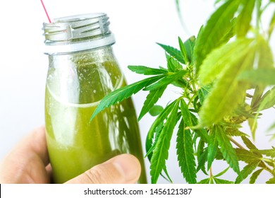 CBD Cannabis Hemp infused smoothie drink with leafs on wooden table