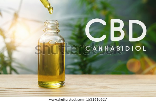 CBD droplet dosing a biological and ecological hemp plant herbal pharmaceutical cbd oil from a jar. Concept of herbal alternative medicine, cbd oil, pharmaceutical industry