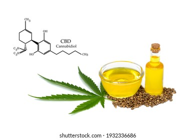 CBD elements in Cannabis,  hemp oil extracts in jars on a white background, medical marijuana, legal light drugs prescribe, alternative remedy or medication, medicine concept
