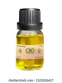 CBD oil bottle isolated on white