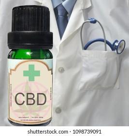 CBD oil bottle with medical background