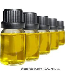 CBD oil bottles isolated on white