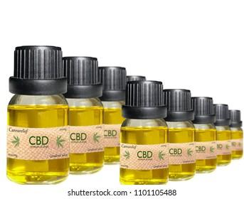 CBD oil bottles lined up for display