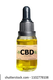 CBD oil eye dropper bottle isolated on white