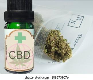CBD oil vial with cannabis