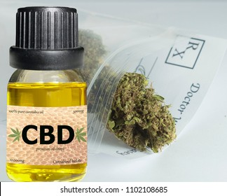 CBD oil vial with cannabis in background