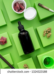 CBD oil, weed, joints, and thc edible gummy candies bought in a legal dispensary. Marijuana products used for self care, well being, and relaxation.