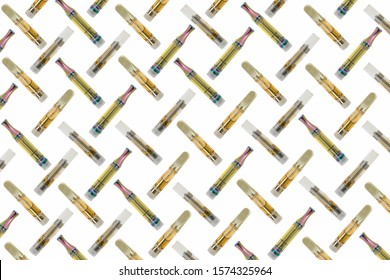 CBD/THC oil in glass cartridge on white background. Abstract background.