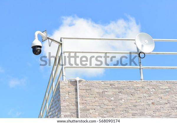 CCTV and antenna dish.