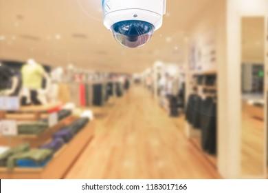 CCTV around safety security on blur shop store background.