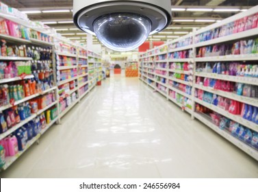 CCTV and blurred supermarket store blur background. Business protection.