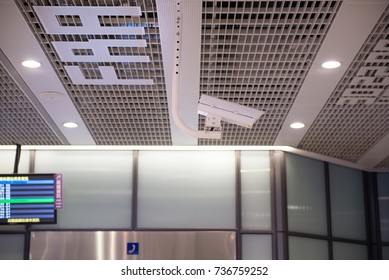 CCTV in building at airport terminal ,Security camera monitor for privacy
