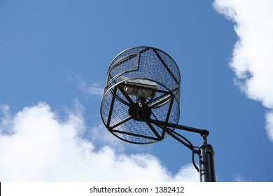 CCTV in a cage in a bad neighbourhood