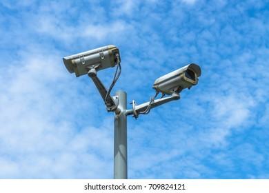 CCTV camera against the blue sky