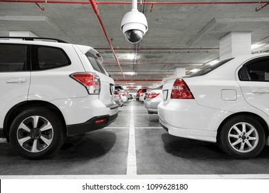 CCTV camera installed on the parking lot to protection security.