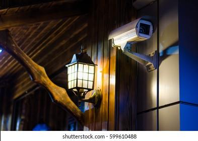cctv camera at night security monitoring