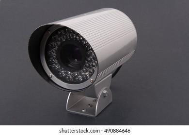 Cctv camera on grey background