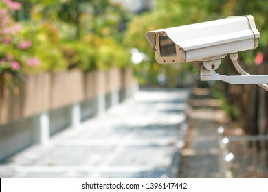 CCTV camera on a wall. A blurred night cityscape background. lungs separated.