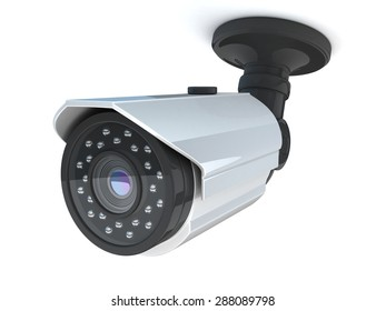 CCTV camera on white background (done in 3d)