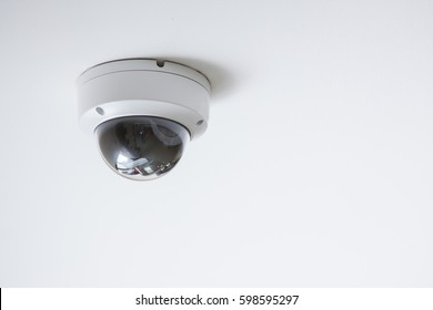 CCTV camera on white ceiling