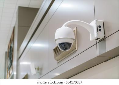 CCTV Camera Operating inside at airport terminal
