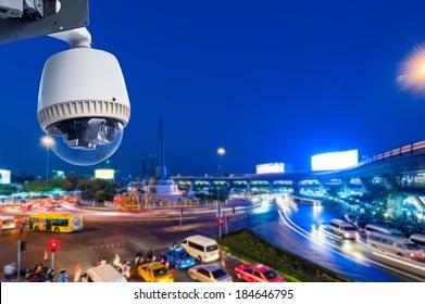 CCTV Camera Operating on road detecting traffic