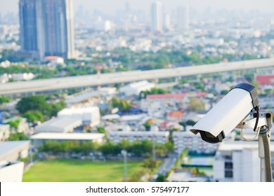 cctv camera for security with city blur background and copy space