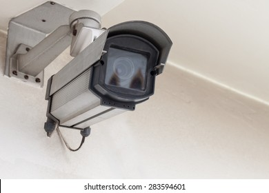 CCTV Camera or Security Camera on  white wall
