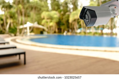 CCTV camera security in pool hotel