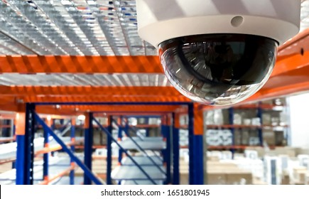 CCTV camera security system installed in a warehouse. 24 hours indoor video control. round-the-clock video recording at the enterprise.