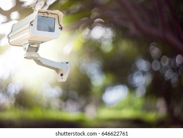 Cctv camera security system isolated on a bokeh background.