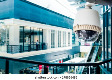 CCTV Camera of Surveillance operating in blue building